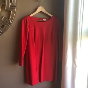 J. Crew dress in deep coral